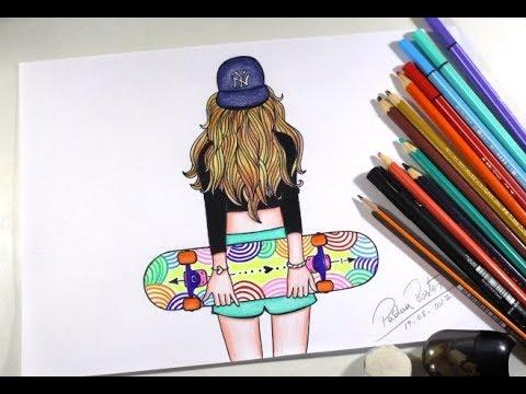 Como Desenhar Garota Tumblr Skatista Passo A Passo