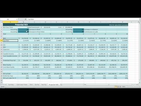 Investment Property Spreadsheet Real Estate Excel ROI Income NOI Template