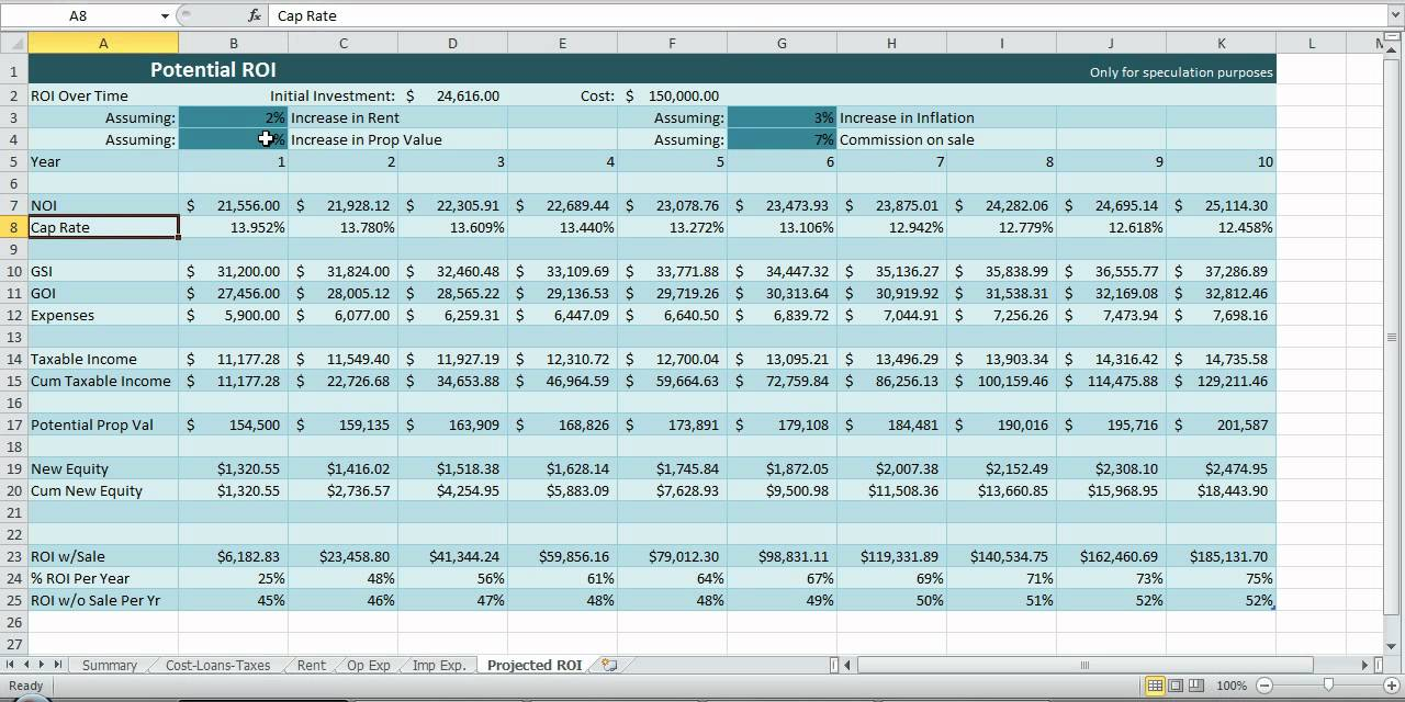 Investment Property Spreadsheet Real Estate Excel ROI Income NOI ...