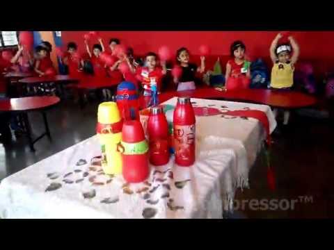 Nursery Rose kids familiar with red colour objects at Renaissance School,  Bulandshahr