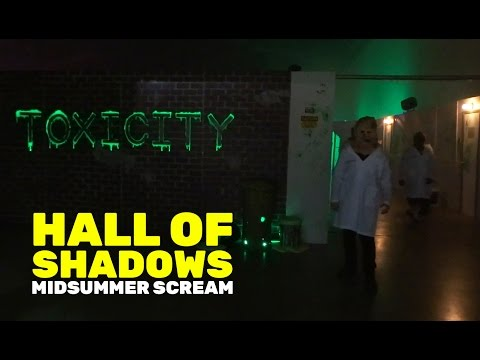 Hall of Shadows and Toxicity scare zone walkthrough at Midsummer Scream 2016