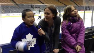 Kate Asks: Two awesome kids talk sports at Leafs pre-game skate!