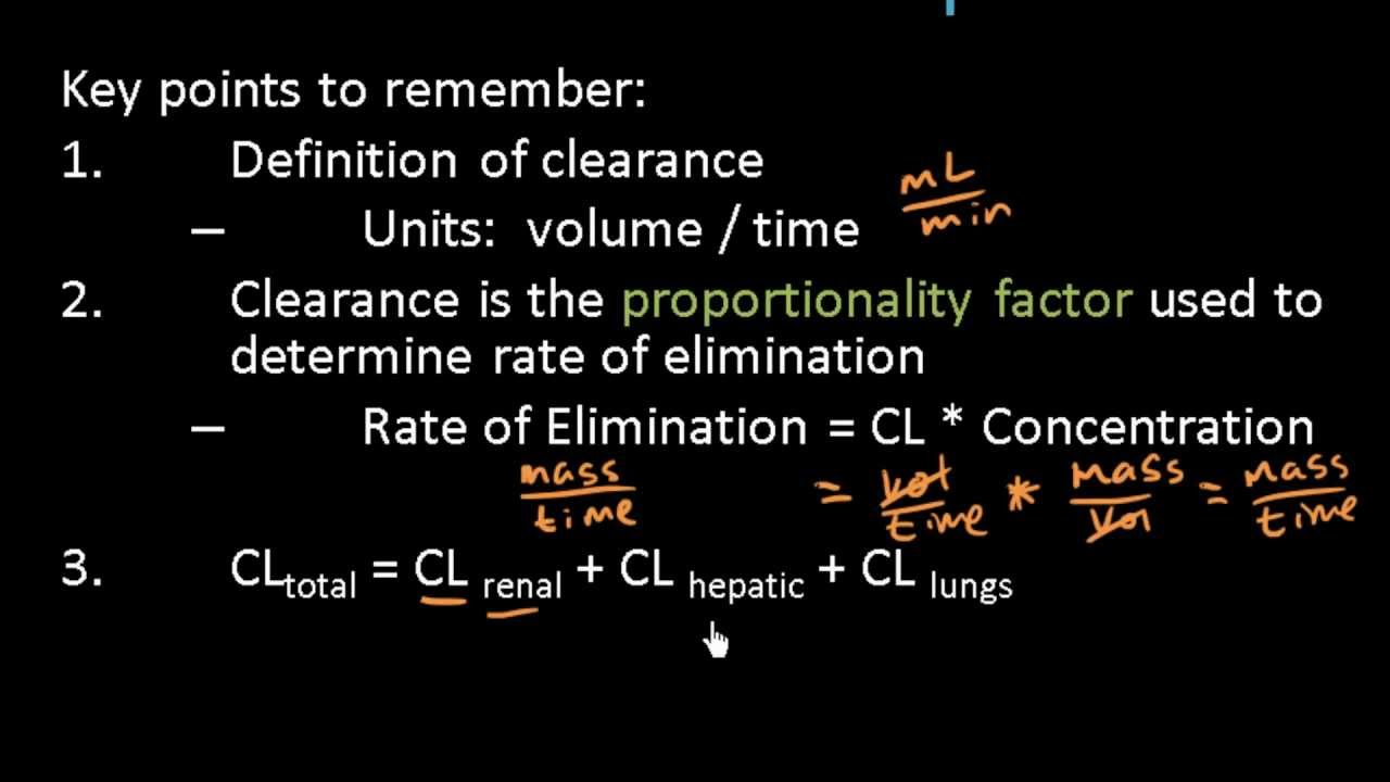 Clearance and rate of elimination pharmacokinetics clearance and rate of elimination pharmacokinetics pharmacology lect 12 ccuart Image collections