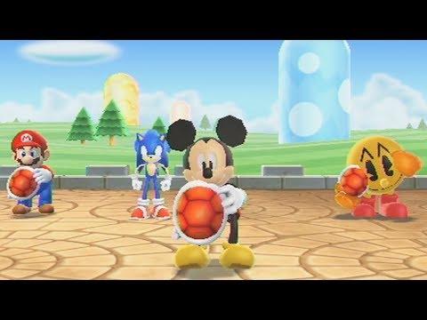 Mario Party 9 Mini Games - Mario Vs Sonic Vs Pac-Man Vs Mickey Mouse (Super Hard Cpu)