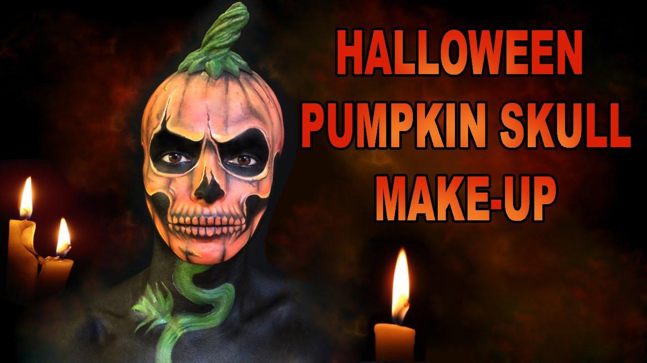 Halloween Pumpkin Skull full make-up transformation - YouTube