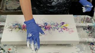 (477) Acrylic swipe with paper towels, cardboard, and a straw