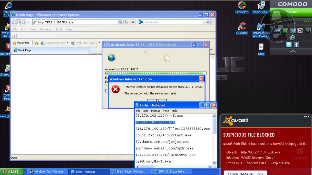Avast Free Antivirus with Comodo Firewall (Modified settings) - Test with  more links
