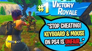 USING KEYBOARD AND MOUSE TO CHEAT IN PS4 FORTNITE 1v1 BUILD BATTLES!