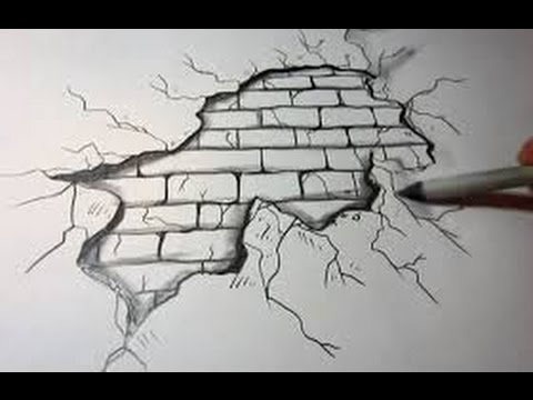 how to draw a brick wall   Background   on Paper - YouTube