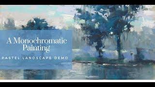 Painting Blue Trees: Monochromatic Pastel Demo