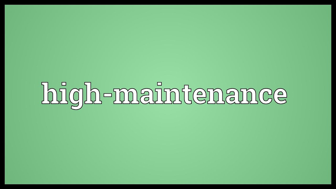 What is the meaning of high maintenance
