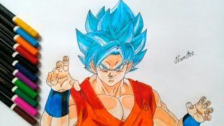 [NamArt] Vẽ Goku SSJ Blue trong Bảy Viên Ngọc Rồng Siêu Cấp - Goku Super Saiyan God Super Saiyan