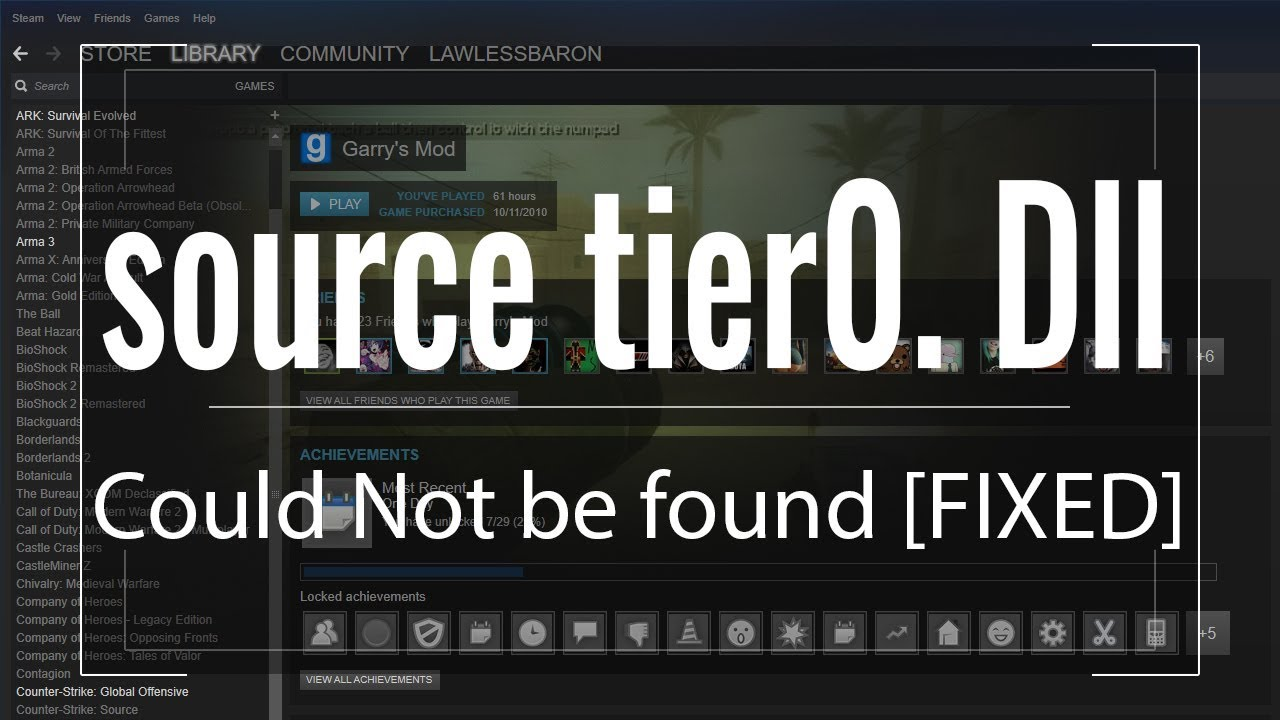 source tier0. Dll Could Not be found [FIXED] - YouTube