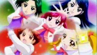 大いなる希望の力、キュア·ドリーム! (The great power of hope, Curedream!) 情熱の赤い炎、キュア·ルージュ! (The red passionate flame, Curerouge!) はじけるレモ...