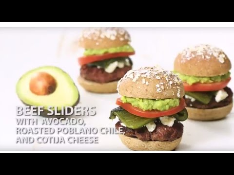 Beef Sliders with Avocado, Roasted Poblano Pepper, and Cotja Cheese