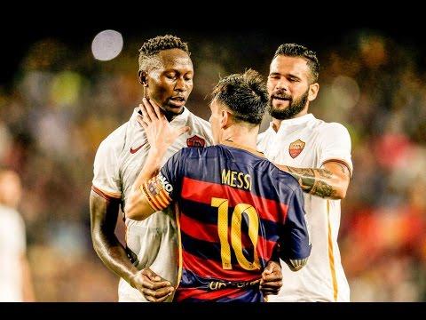 Leo Messi Headbutts Mapou Yanga-Mbiwa vs Roma