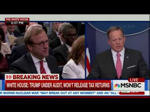 "Thumbnail: Spicer punts on saying whether Trump's taxes will ""never"" be released."