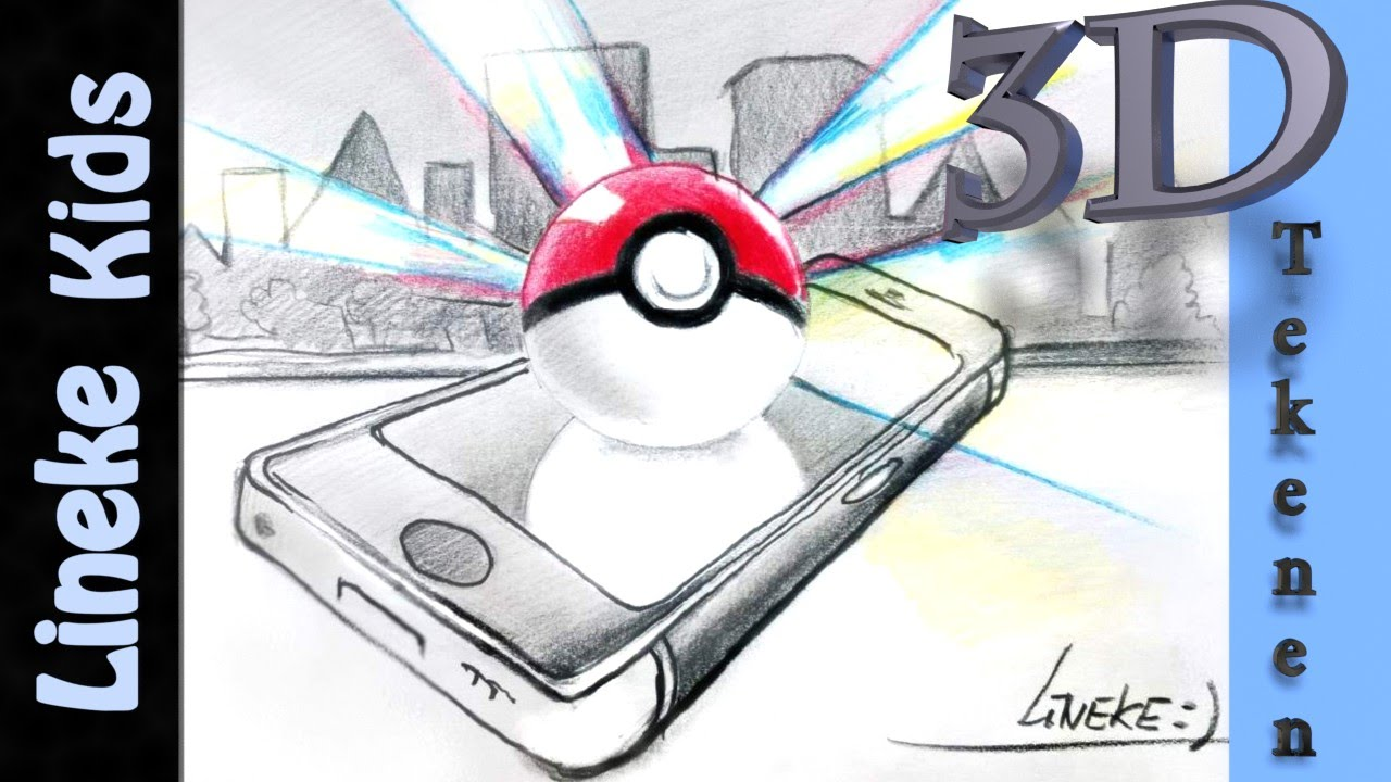 Super Cool 3d Pokeball En Mobieltje Tekenen 3d 34