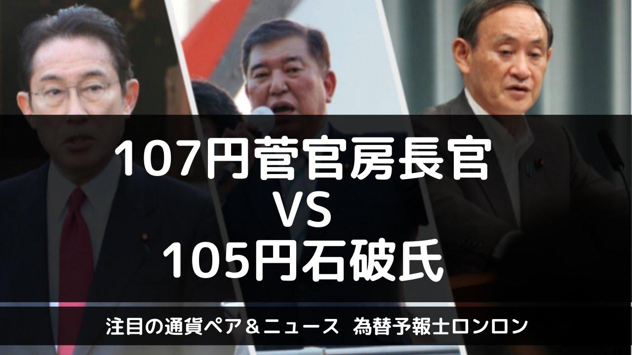 【為替予報士ロンロンのドル円分析】107円突破ロックオン 次の首相は菅さんで決定か!?  石破氏がどこまで食い込んでこれるかに注目です。