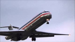 American Airlines Mcdonnell Douglas Md-82 (dc-9-82) Landing At Newark Liberty International Airport