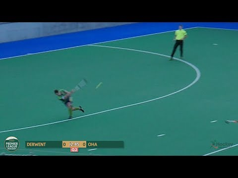 Incredible One-Pass Hockey Goal! Circle to Circle in One Overhead, James Thomas to Toby West