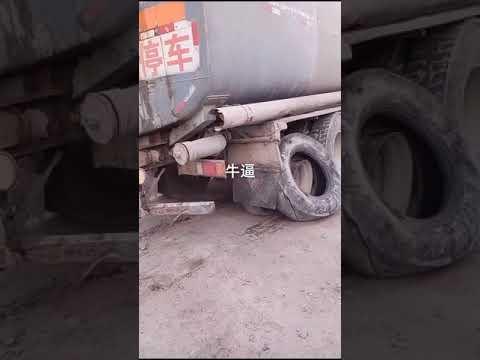 heavy tanker truck tyre brocken