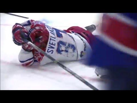 Kalinin rocks Svetlakov with a game misconduct penalty