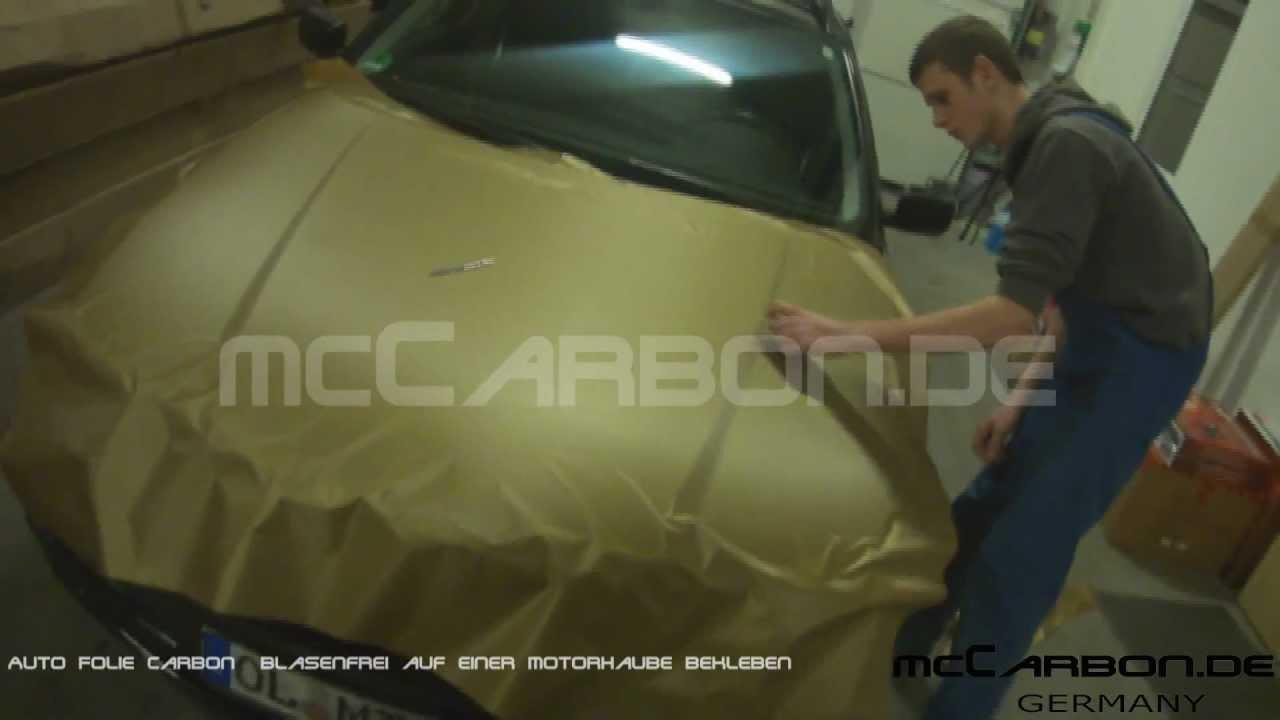Auto folie gold carbon blasenfrei auf einer motorhaube bekleben ...