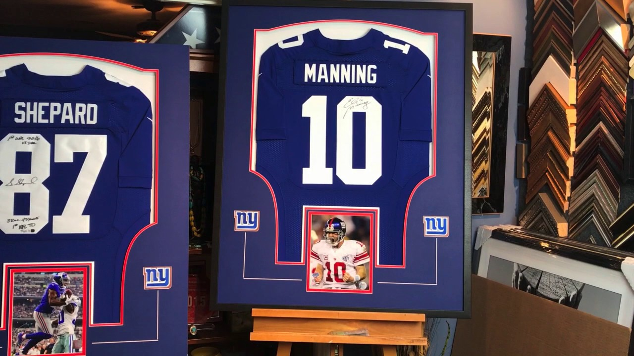 reputable site 03ecb 4e5e4 Framing 3 Signed NFL New York Giants Jerseys: Eli Manning, Sterling Shepard  and Lawrence Taylor