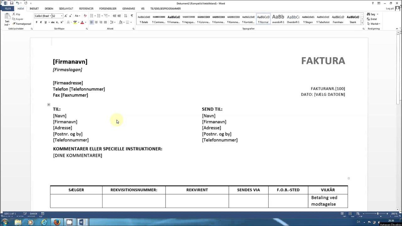 Office Layout Template Faktura I Word F 229 En Gratis Skabelon Til Faktura Youtube