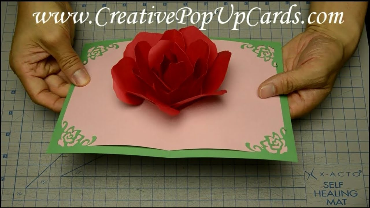 Rose pop up card for mothers day or valentines day youtube solutioingenieria Choice Image
