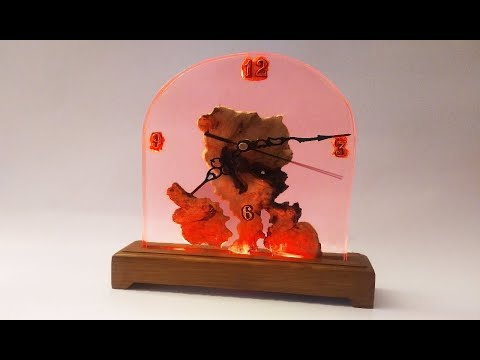 EPOXY RESIN WOOD CLOCK L.E.D LAMP-DIY