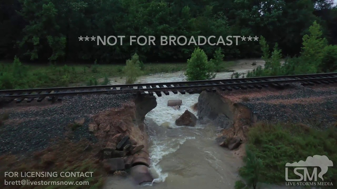 7-16-2019 Dierks, Ar Extreme Flash flooding, train flooded, railroad track washed out drone