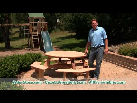 Red Cedar Octagon Walk-In Picnic Table from CedarStore