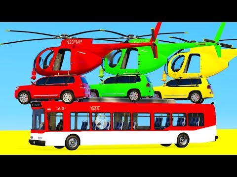 Thumbnail: Colors for Children to Learn with SUV Cars Helicopter w Bus Coloring Toy for Kids - Learn Colors