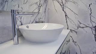 Ванная комната из мрамора c Bookmatch