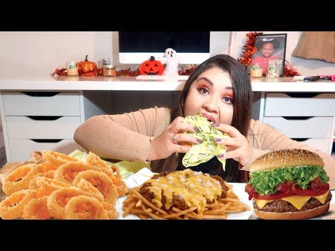 Crunchy ONION RINGS, CHEESY Chili Cheese Fries & Cheesebuger Mukbang / Eating Show
