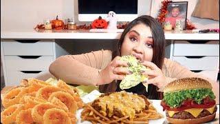 Crunchy ONION RINGS, CHEESY Chili Cheese Fries & Cheesebuger Mukbang / Eating Show