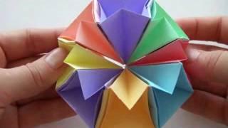 Модульное оригами | Динамичная игрушка из бумаги(Как сделать динамичную игрушку из бумаги: http://www.olyaruss.com/view_post.php?id=238 Это яркая Звезда или Многогранник, прини..., 2011-10-11T19:45:23.000Z)