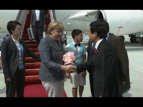 German Chancellor Merkel Arrives in Hangzhou for G20
