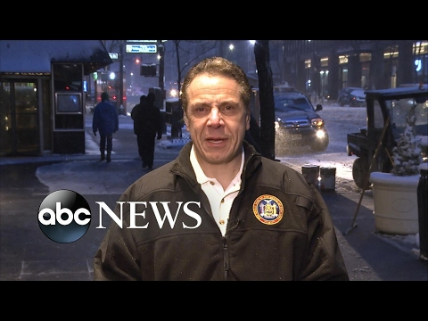 NY Gov. Andrew Cuomo reacts to major winter storm
