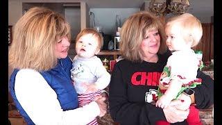 TWIN BABIES REACT TO IDENTICAL TWIN GRANDMA
