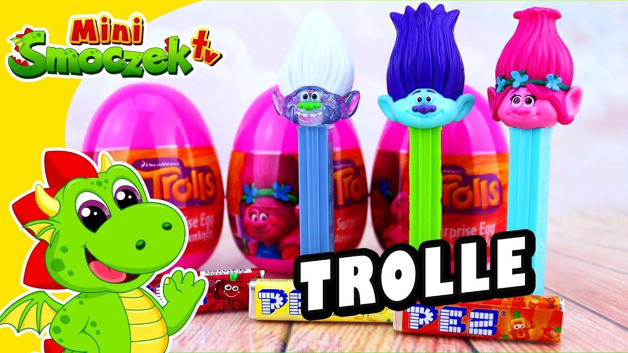 Trolle: Poppy, Murk i Gwidon Diament PEZ i Jajka Niespodzianki! Zabawki Bajki Dla Dzieci Po Polsku