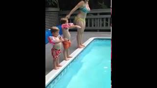 Mom Attempts To Teach Son How To Dive LMAO