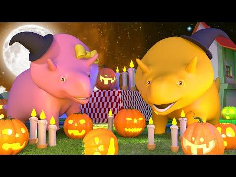👻 Halloween 🎃 Dino & Dina lernen eine Kürbislaterne zu schnitzen 👶 Lehrreiche Cartoons für Kinder