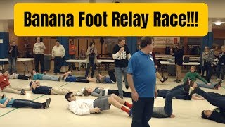 BANANA FOOT RELAY RACE (FUNNEST YOUTH ICEBREAKER GAME EVER!!!)