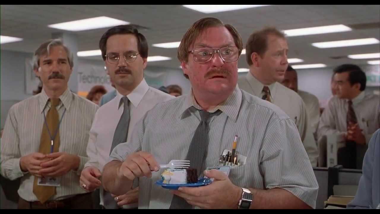 Office Space (1999) - Milton Cake Scene - YouTube