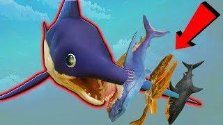 РЫБА МЕЧ ПРОТКНУЛА МЕГАЛОДОНА И ДРУГИХ АКУЛ   Feed and Grow Fish