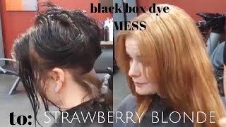 black box dye mess to STRAWBERRY BLONDE
