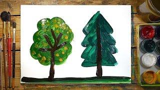 Как нарисовать 2 Дерева | Простые рисунки красками | Урок рисования для детей(РыбаКит - Папа рисует: http://www.youtube.com/ribakit3 Сегодня я нарисовал два зеленых дерева. Одно дерево хвойное, второе..., 2016-02-26T10:06:46.000Z)
